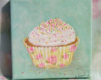 Cupcake Painting Food Kitchen Art Original