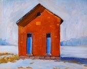 Oil Painting, School House, Original, Landscape, Small, 8x10, Brick, Orange, Blue, Winter, Snow, Wall Decor