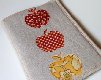 Notepad Holder Organizer List Taker - Red Gold Apples and Linen