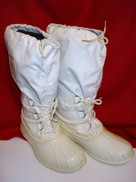 vintage sorel snow boots white snow cat boots sz 8 womens