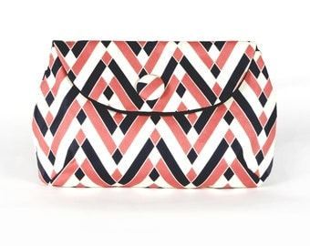 Pink & Navy Chevron clutch purse