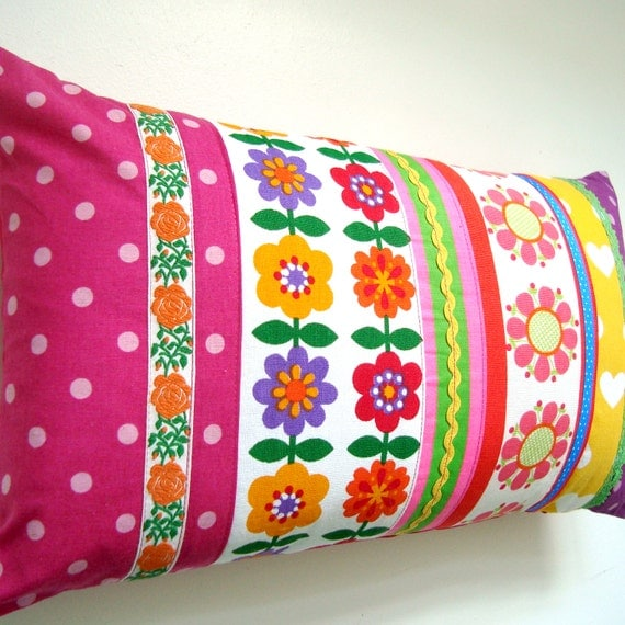 Bright Vintage Retro Patchwork Cushion / Pillow Cover