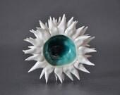 Cerulean Blue Micro Urchin Bowl -  Porcelain Sea Urchin Ceramic Decorative Textured Sculpture Vessel