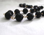 Black Onyx Necklace 14K Goldfilled Faceted Beads - ZhivanaDesigns