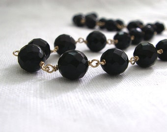 Black Onyx Necklace, 14K Gold Fill, Wire-Wrapped Faceted Beads Black Necklace, Wife Gift, Gemstone Necklace