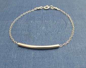 Curved Gold Bar Bracelet, Sliding Bar Bracelet, 14K Gold Fill Modern Dainty Jewelry
