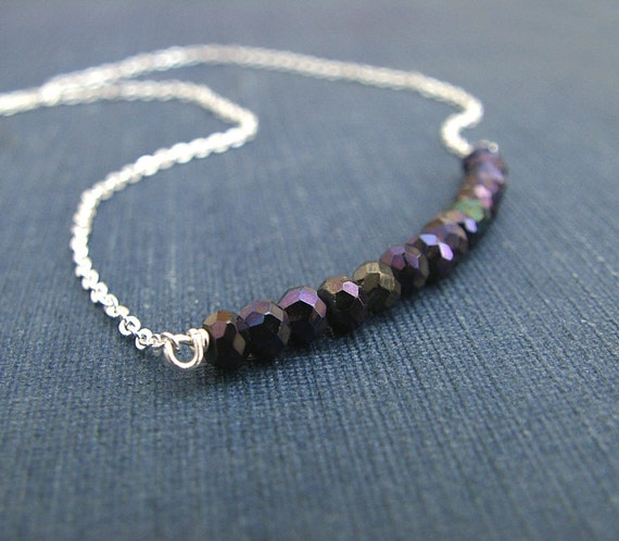 Black Spinel Necklace, Sterling Silver Chain, Gemstone Jewelry, Modern Minimalist Bead Row Necklace