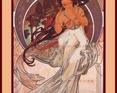 PR-263 Artistic Ephemera 8 x 10 Print - Alphonse Mucha - Art Nouveau 'Music' - Also Available as Small Prints and Postcards