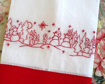 Redwork Snowman Hand Embroidery Linen Tea Towel Kit