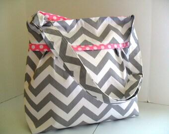 Chevron Diaper Bag  Gray and Pink- Adjustable Strap / Elastic Pockets