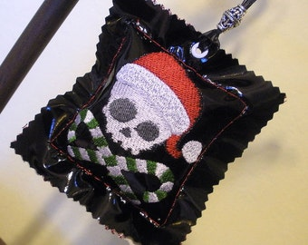 Skully Santa Embroidered Pleather Plush Ornament/Holiday Decoration with organic lavender