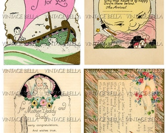 Vintage 1920s Baby Birth Greeting Card Digital Download 248 - by Vintage Bella collage sheet