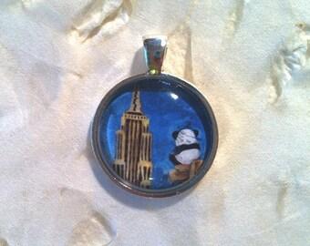 New York Panda Art Jewelry - Real Glass - 1 Inch Circle Bezel Pendant - Hero Panda - Cute Animal - Jewelry