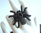 Gothic Black Widow Ring, Rhinestone Spider On Sturdy Ring Base, Metal Bonded Not Glued, Adjustable