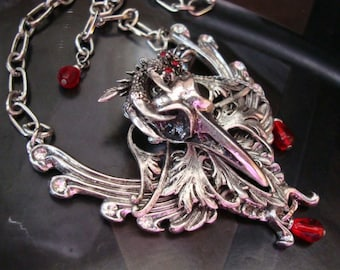 Captured Bird Skull and Dragon Claw Necklace, Original Hand Made Design, Blood Tear Drops and Jewels