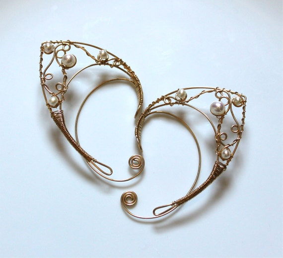 Goldfilled elf ears with freshwater pearls