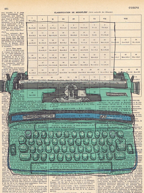 NEW.turquoise,blue,greenGift. Retro Typewriter,Altered, Repurposed, OOAK,  Book Page Print / Home Deco,Old School,Author