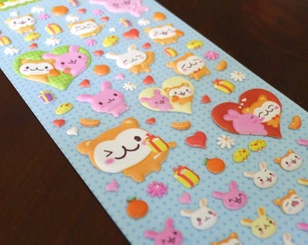 Cute Puffy Japanese Stickers  - Animal Face Series - Bunny Love (1215)