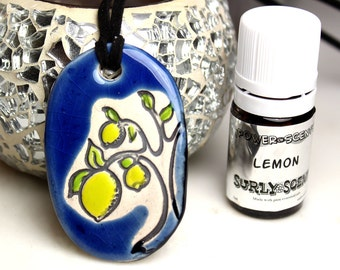 Blue Lemon Tree Necklace with Lemon Essential Oil small size