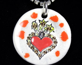 Sacred Heart  Sparkle Surly Necklace with Swarovski Crystals