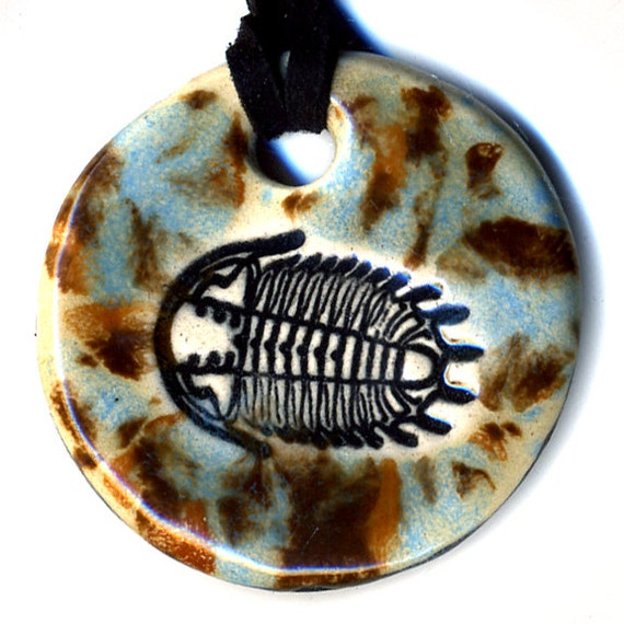 Trilobite Ceramic Necklace in Spotted Brown