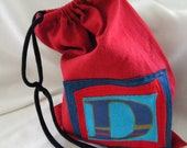 Larger Initial Pouch ONE Letter upcycled repurposed t shirt sleeve Custom Choose COLORS