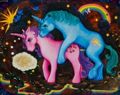 UNICORN PONIES Fine Art Giclee Print by Krisztina Lazar with rainbows sunshine butterflies and birds