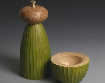 Avocado and Burr Elm Pepper Mill and Salt Bowl MADE TO ORDER