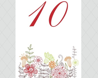 Flower Table Numbers