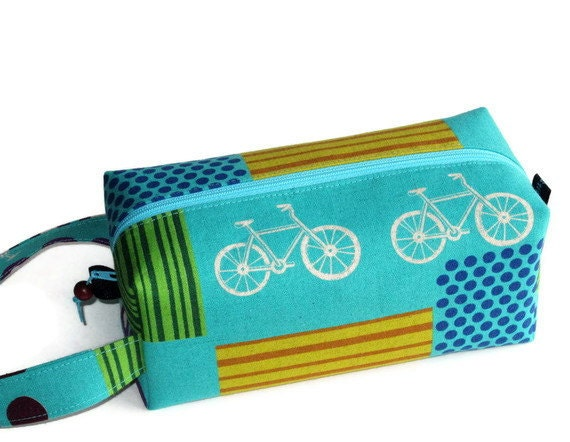 Boxy Bag Knitting Project Zippered Pouch - Bicycles on turquoise
