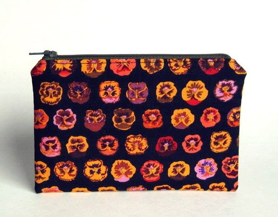 Zippered Pouch - Pansies