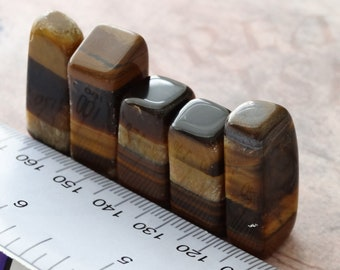 SALE: South African Tumbled Golden Tiger Eye (Free Form Standing) 5 pieces  - No Holes