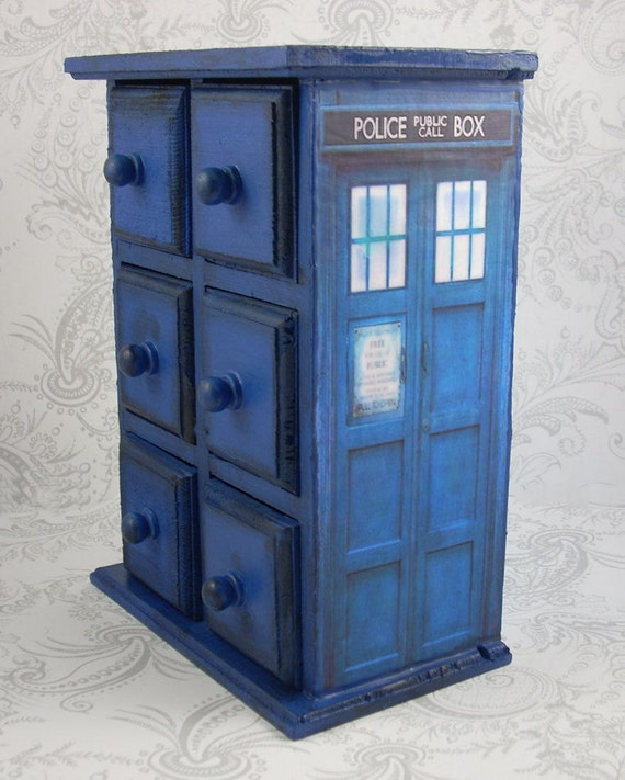 RESERVED for Kendall - TARDIS Inspired Stash Jewelry Box