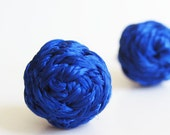 Braided Stud Earrings - Cobalt