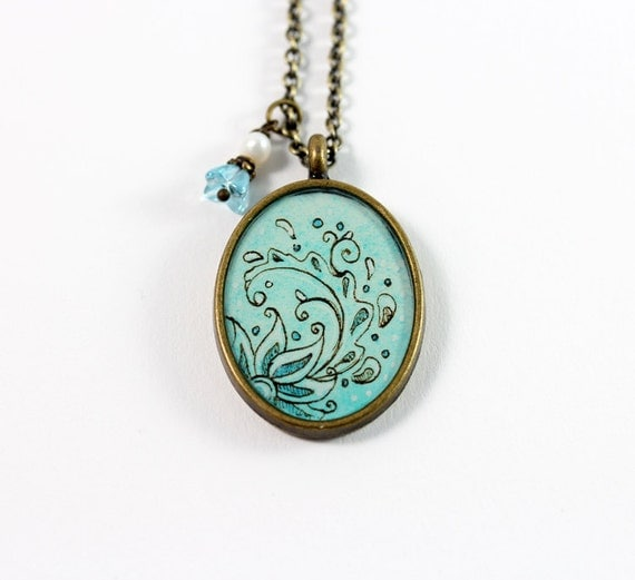 Swirled Flower in Aqua Hand Painted Necklace