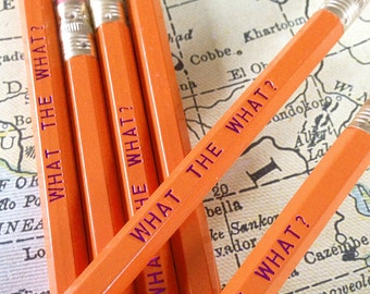What the What Tina Fey, Liz Lemon Pencil 6 pack, Earmark Pencils, engraved pencils, cool stocking gifts, funny stocking gift, tv show quotes