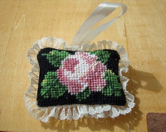 Light Dusty Pink Rose - Needlepoint Ornament