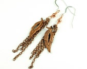 Boho style Copper Earrings - Chain and Leaves - Sterling Silver ear wires - perfect stocking stuffer - ready to ship