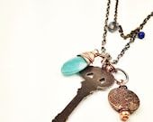 Boho Mixed Metal Necklace with gemstone accents - Skeleton Key for your journey - not all those who wander are lost