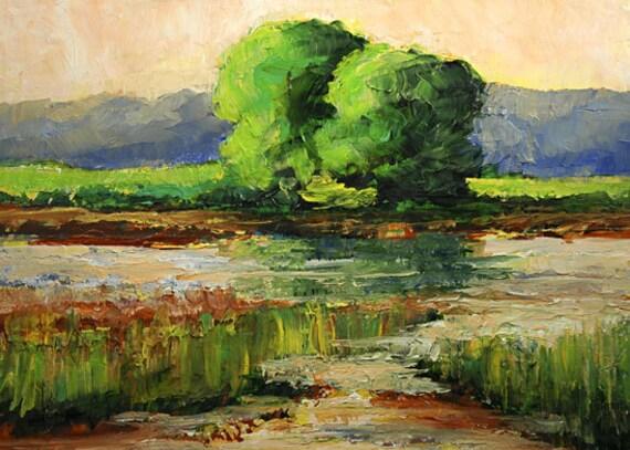 Bobbi Doyle-Maher ORIGINAL Painting Impressionist Southern Landscape  Original Acrylic on Dura Lar 9x12