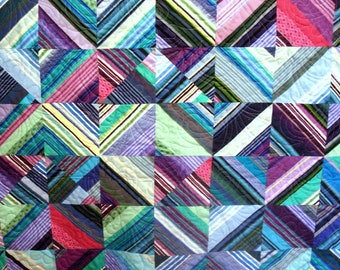 Lap or Twin Quilt in Purples and Teals