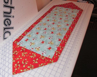 Mice and holly leaves whimsical table runner