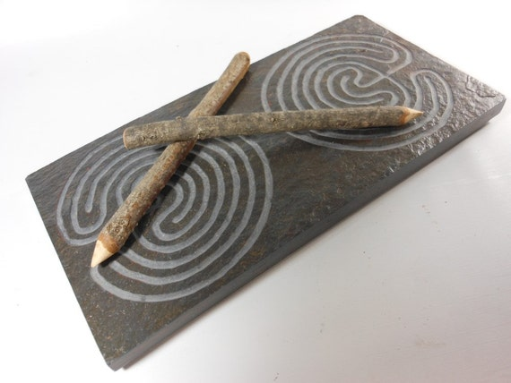 DOUBLE LABYRINTH STONE - Carved Troy Outline (2 Paths on Each End) - Finger Maze Meditational Tile - Carved Natural Slate Stone