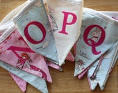 Alphabet Bunting Banner and Matching Bib.  Custom Options Available.