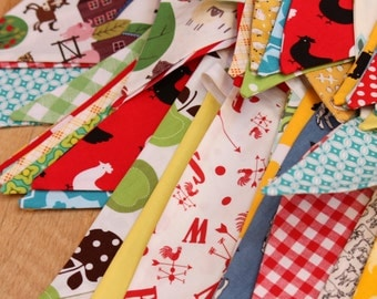 Farm Theme Fabric Bunting, Gender Neutral 9 Large Flags, Banner, Designer's Choice, Ready To Ship Photography Prop, Bedroom, Parties...