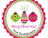 Personalized Christmas Ornament Trio Labels, Holiday, Gift Tags, Party Favors - Set of 12