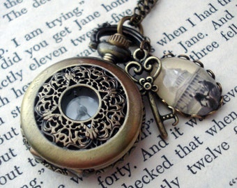 Personalized Silver or Bronze Photo Pocket Watch Locket/Necklace Heart - Customized with Your Photograph - Gift for Mom, Wife, Bridesmaids