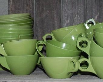 Vintage Green Melmac Melamine Lot of 53 Pieces