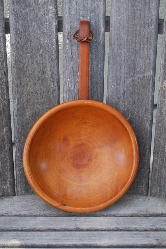 Vintage Wooden Primitive Handled Bowl Munising