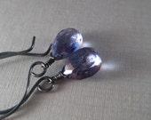Mystic Quartz Earrings, Faceted Gemstone Briolette Earrings, Tanzanite Blue Wire Wrapped, Oxidized Sterling Earrings